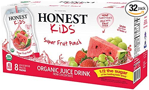 Honest Kids Certified Organic Fruit Quencher, Superfruit Punch, 6.75-Ounce Pouches (Pack of 32)