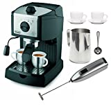 DeLonghi EC155 15 BAR Pump Espresso and Cappuccino Maker Bundle