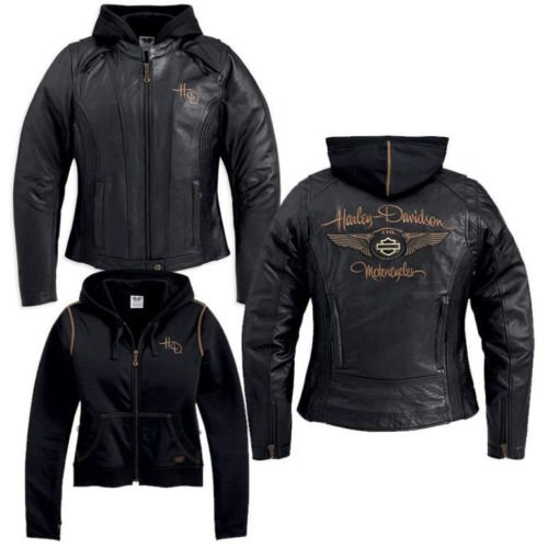 Harley Davidson Women's 110th Anniversary Black Leather Jacket