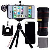 ECO-FUSED iPhone 5 Camera Lens Kit Includes / 8x Black Telephoto Manual Focus Telescopic Camera Lens with Tripod / 1 Universal Holder / 1 Mini Tripod / 1 iPhone 5 Protection Case / 1 ECO-FUSED Microfiber Cleaning Cloth included