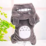 Warm Soft Warm Halloween Pet Costume Totoro Lion Dog Clothes Puppy Cat Hoodie-Gray-S