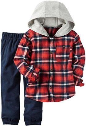 Carters-Baby-Boys-2-Pc-Playwear-Sets-Red-Plaid-24M