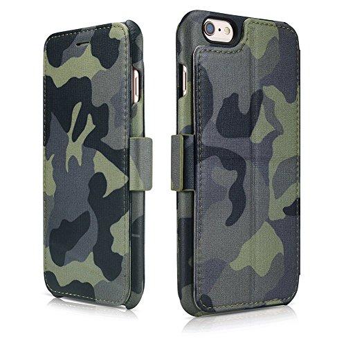 iPhone6s plus ケース JUNCH 本革 手帳型 カードポケット付き スタンド機能 マグネット式 iPhone6 plus カバー(JungleCamo