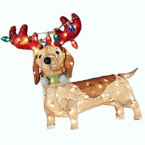 Lighted Dachshung Dog Outdoor Christmas Decoration With White Incandescent Lights 30 In Total Height
