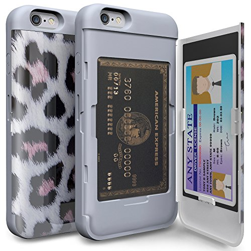 iPhone6s ケース「iPhone6 ケース」手帳型「人気」耐衝撃「カードホルダー」suica「衝撃吸収」ミラー「TPUxプラスチック」スタンド「アイフォン6sケース」アイフォン6ケース「スマホケース」おしゃれ- レオパート/ホワイト「TORU」