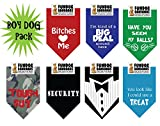 7 PACK BANDANAS - Boy Dog Pack, One Size Fits Most for Medium to Large Dogs