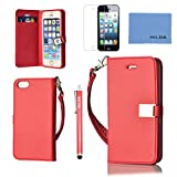 iphone 5S Case,iphone 5S Wallet Case,iphone 5S Leather Case,Cute Ailun(TM) ,Credit Card Holder, Flip Cover Skin(Red) with Screen Protector with Styli Pen