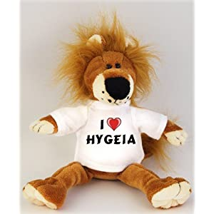 Lion plush toy (Fetzy) with I Love Hygeia t-shirt