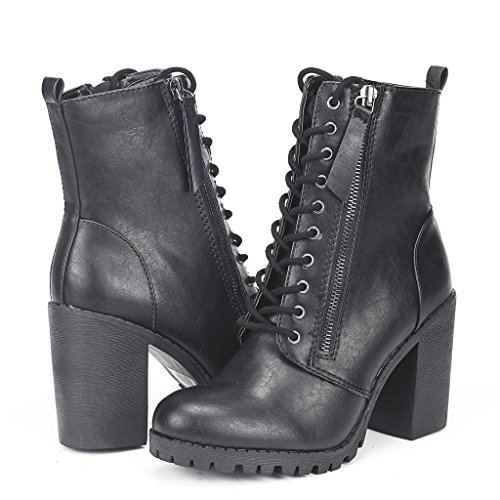 DREAM PAIRS SILVERADO Women's Vegan Round Toe Stacked Lug Heel Lace Up Ziopper Ankle Booties Boots Black Size 8.5
