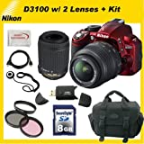 Nikon D3100 Digital SLR Camera (Red) with 18-55mm NIKKOR VR Lens - Nikon AF-S DX VR Zoom-Nikkor 55-200mm f/4-5.6G IF-ED Lens + Kit