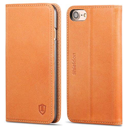 iPhone7 ケース SHIELDON® アイフォン7手帳型ケース 本革カバー カードポケット スタンド機能付き マグネット式 レトロブラウン
