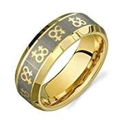 Gold Female Symbols Lesbian Pride Steel Ring. High quality steel ring band. Rainbow Pride Jewelry. Gay Gift or Wedding Marriage or Engagement band (10)