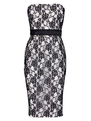 FourFlavor Abendkleid Spitze schwarz weiß (S, schwarz)
