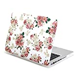 MacBook Pro 13 inch Case, GMYLE Hard Case Print Frosted for MacBook Pro 13 inch - White Floral Rose Pattern Rubber Coated Hard Shell Case Cover case (Not Fit For Macbook Pro 13 with Retina Display A1425 and A1502)