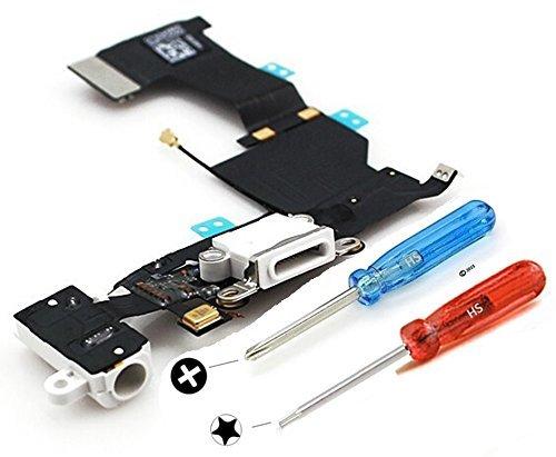 iPhone 5s ドックコネクタ修理用パーツ USB充電ポート フレックスケーブル ホワイト マイクおよびホームボタンコネクタ組立て済み ドライバー×2本付属で組立て簡単