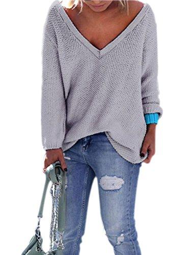 Yidarton Damen Langarm Strickpullover mit V-Ausschnitt Pulli Lose Strickjacke Knitwear Sweatshirt Jumper Tops