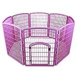 IRIS 8-Panel Plastic Pet Pen, CI-908, Pink