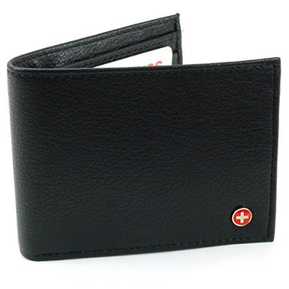 Alpine-Swiss-Mens-Leather-Flipout-ID-Wallet-Bifold-Trifold-Hybrid