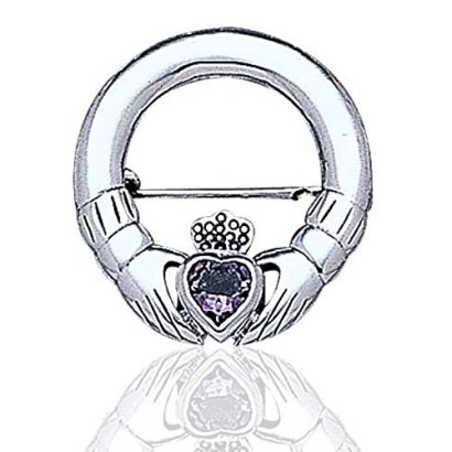 Celtic-Claddagh-and-Genuine-Amethyst-Heart-Sterling-Silver-Brooch-Pin