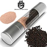 Monster Kitchen Salt and Pepper Grinder Set, 2-in-1 Salt Mill and Pepper Grinder with Stainless Steel - clear Acrylic Body and Ceramic Grinding mechanism. Enhance your kitchen experience NOW.
