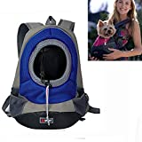 YAMAY® Creative Durable Comfortable Fabric Mesh Head Out Design Pet Puppy Dog Front Carrier Bag Pack Backpack Fit for Small Dogs Portable for Outdoor Travel Hiking (M, Blue)