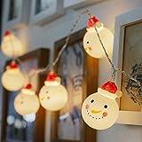 BigFox スノーマン装飾LEDライト クリスマス飾り 1m 電池式 スノーマン装飾 ミニ雪だるまオーナメント 雪だるまLEDストリングライト