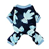 Fitwarm Soft Velvet Cute Bear Pet Clothes for Dog Pajamas Winter Coats PJS, Blue, Small