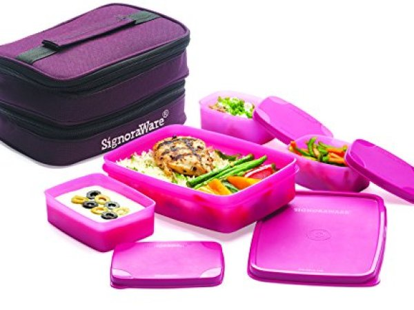 Signoraware Fortune Lunch Box with Bag, Pink