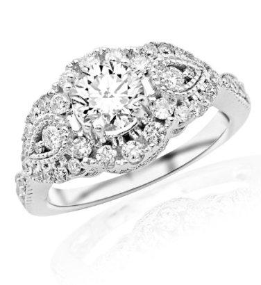 149-Carat-Round-Cut-Designer-Vintage-Halo-Diamond-Engagement-Ring-H-I-Color-I2-Clarity