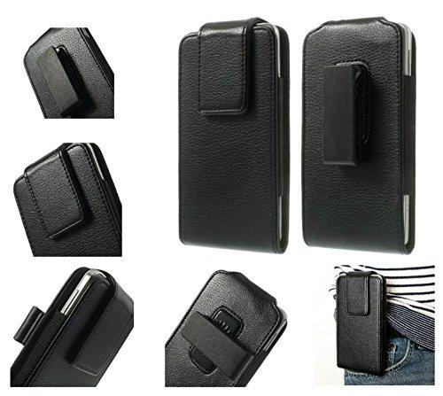 DFV mobile - 磁気革ホルスター ケース ベルト クリップ回転 360 ° = Huawei Honor 6 Plus  黒