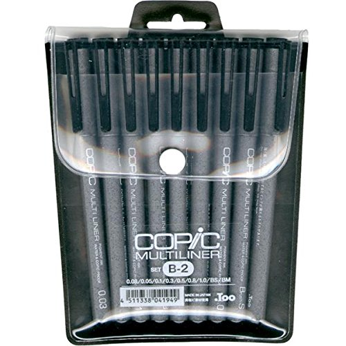 Copic Markers 9-Piece Multiliner Inking Pen Set B-2, Black (MLB2)
