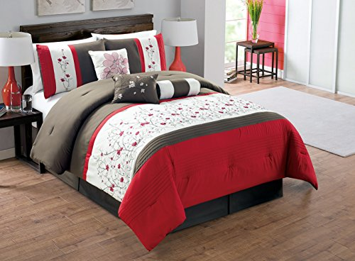 Modern 7 Piece King Bedding Pin Tuck Floral Embroidered Comforter Set