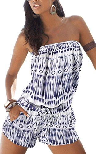 ECOWISH Damen Blumendruck Strapless weg von der Schulter-Spielanzug kurzer Overall Jumpsuit