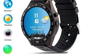 LEMFO KW88 3G Smart Watch Cell Phone All-in-One MTK6580 Android 5.1 Quad Core WiFi GPS Heart Rate Monitor (Gray+Black)