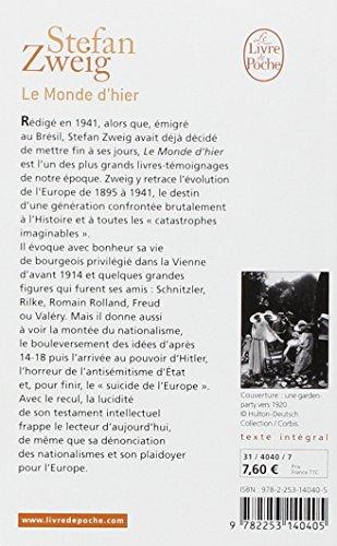 Telecharger Le monde d'hier : Souvenirs d'un européen de Stefan Zweig