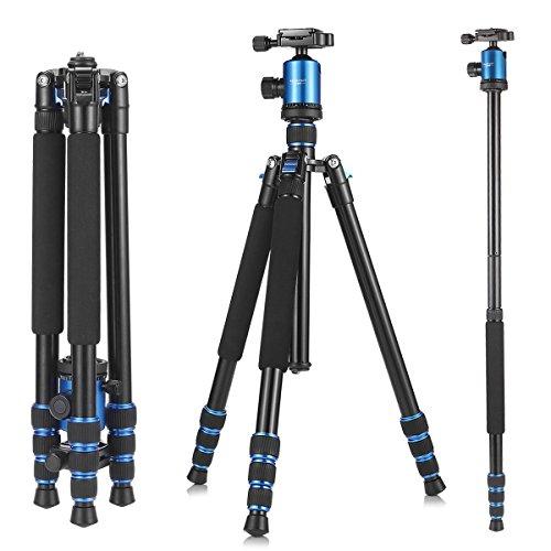 Kamera Stativ, ketdirect Tragbare Leichtes Reisestativ für Kamera, professionelle Magnesium Aluminium Einbeinstativ mit 360-Grad-Kugelkopf und Tragetasche für Canon Nikon Sony Olympus DSLR-Kameras (blau, schwarz, orange)