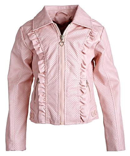 Urban Republic Girls PU Leather Vent Design Printed Lining Spring Rain Jacket - Sweet Pink (Size 5/6)