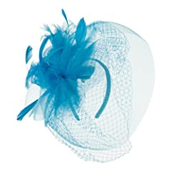Flower and Feather Accented Fascinator - Turquoise OSFM