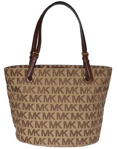 Michael Kors MK Signature Items Bag Shoulder Tote Handbag Purse - Mocha