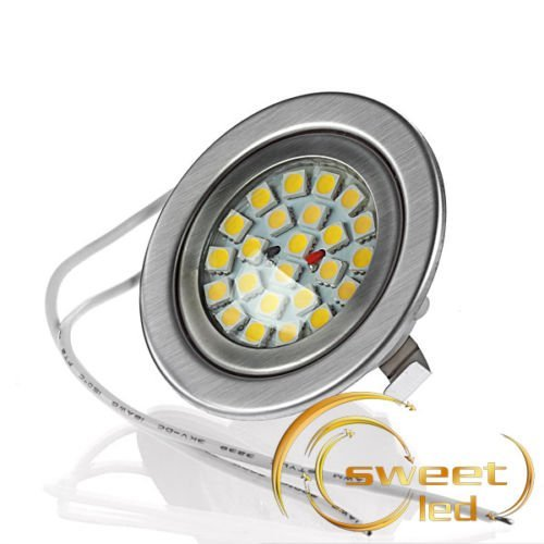 sweet led® 24 LED Einbaustrahler ultraflach, G4, 12V, hohe Lichtstärke, warmweiss, Farbe silber