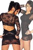 LH Dessous - 11934 Größe S-M. Sexy Minikleid oder Longshirt aus Spitze mit sexy Rückenausschnitt und großer Satinschleife. Das Kleid ist vorne nicht erotisch transparent
