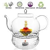 Tea Beyond Tea Services Teapot Polo 45 Oz / 1330 Ml and Glass Tea Warmer Wave Large