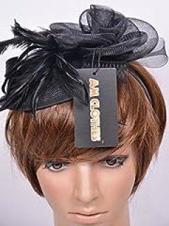 Womens Feathers Fascinator on Headband Mesh Flowers (BLACK)