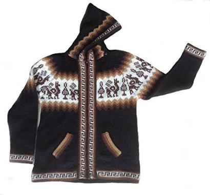 Alpakaandmore-Unisex-Alpaca-Wool-Hooded-Cardigan-Sweater-Peru-Designs-Black