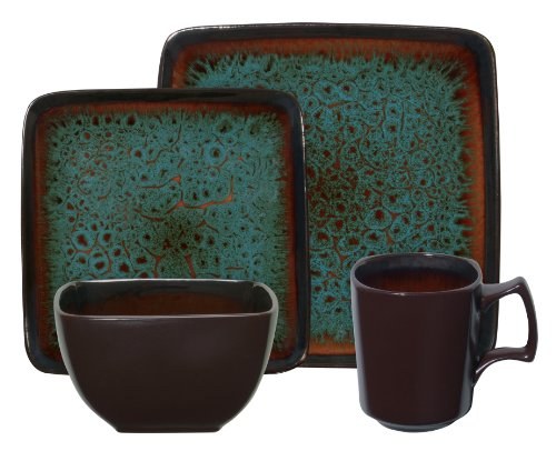 Gibson Kenzo 16-Piece Square Reactive Glaze Stoneware Dinnerware Set, Blue