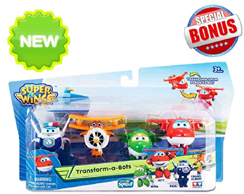 Super Wings of Sprout TV- Transform-a-Bots 4 pack (Set #1) Bundle PLUS FREE Pilot Bonus Surprise!