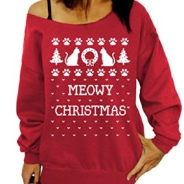 Sumtory Women Christmas Pullover Long Sleeve Off Shoulder Sweatshirt Tops