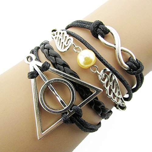 KAMOUR Jewelry Mens Womens Leather Rope Bracelet, Infinity for Harry Potter Deathly Wings Friendship Leather Charm Bangle, Black Silver
