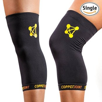 CopperJoint Copper Knee Brace, #1 Compression Fit Support - GUARANTEED Recovery Sleeve - Wear Anywhere - Large - Single