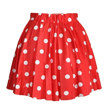 AvaCostume-Womens-High-Waisted-Candy-Colors-Polka-Dot-Skirt-Red